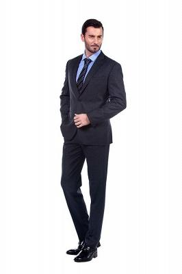 Gris oscuro 2 bolsillos trajes a medida delgados Traje casual de solapa | con muescas Personalizar esmoquin de boda_2