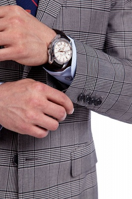 Modern Grey Checks Two Button Custom Formal quinceanera Chambelanes Tuxedos | Single Breasted Peak Lapel Business Quinceanera Tuxedos for Chambelanes_6