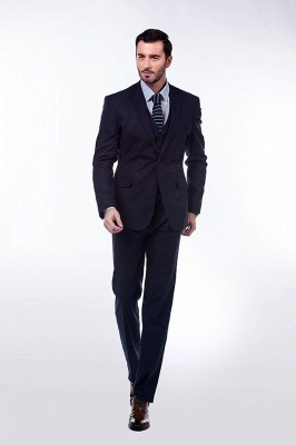 Dark Navy Peak Lapel Single Breasted Chambelanes Tuxedos | Premium Wool Three-Pieces Back Vent Customize suits_1