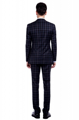 Wool Single Breasted Dark Grey Blue Plaid Chambelanes Tuxedos | Latest Design Notched Lapel Two Button Chambelanes Tuxedos_3