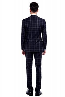 Traje de hombre de lana escocesa azul marino de un solo pecho gris oscuro | Traje de boda de dos botones con dise_o de solapa con muesca_3