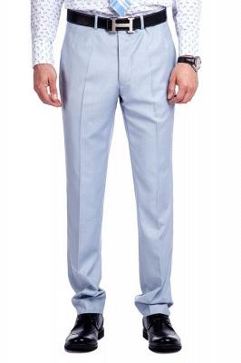 la solapa enarbolada por encargo Traje a medida azul claro | Tres bolsillos trajes de novio de boda de pecho único_7
