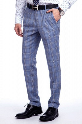 Wool Blue Checked Single Breasted Tailored Suit For Men | Stylish Design Notched Lapel Slim Fit Chambelanes Tuxedos_8