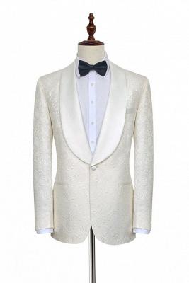 Traje de boda a medida de Jacquard blanco puro para el novio | Nuevo traje formal de un botón con botonadura simple para hombres guapos_3
