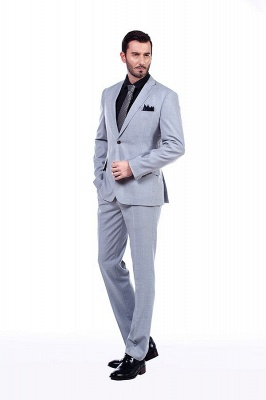 Solid Single Breasted Notched Lapel Formal Suit for Men | light Grey Custom Made Quinceanera Tuxedos_3