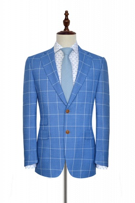 Slim Blue Grid 3 Pocket Wool Tailored Suit For men | New Single Breasted Peaked Lapel Chambelanes Tuxedos for my Quince_1