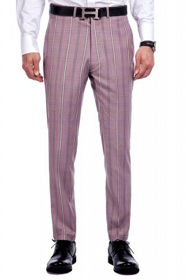 New Tailor Made Light Pink Plaid Chambelanes Tuxedos | 3 Pockets Single Breasted Slim Bespoke Suits_7