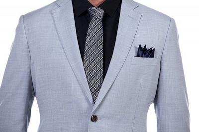 Solid Single Breasted Notched Lapel Formal Suit for Men | light Grey Custom Made Quinceanera Tuxedos_5