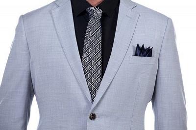 Traje Formal de Sola solapa con entallado de punto cruzado | Esmoquin de boda por encargo gris claro_5