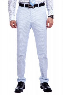Blue Stripes Single Breasted quinceanera Groom Tuxedos | Peaked Lapel Two Buttons Tailor Made Causal Suit for Men_6