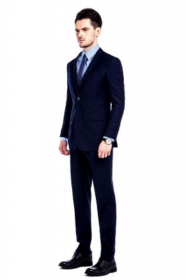 Navy Blue Notched Lapel 3 Pocket Premium Suit for Men | New Single Breasted Slim Fit Best GroomsChambelanes Tuxedos_3