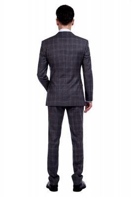 Traje a cuadros de primera calidad a medida en gris para hombres | Pocket solo traje de boda de pecho_3
