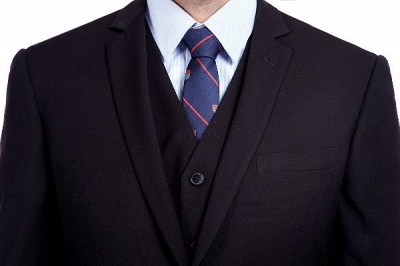 Black Single Breasted 3 Piece Business Suit for Men | High-end Peak Lapel Customized Tuxedos for my Quince_8