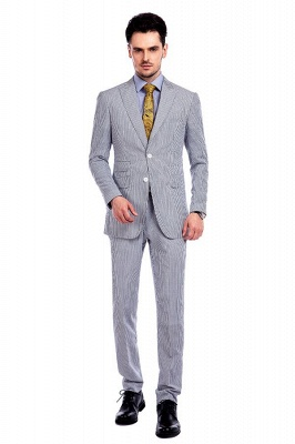 Popular Grey Stripes Breathable Causal Suit for Men | Peak Lapel Customize Single Breasted Chambelanes Tuxedos_1