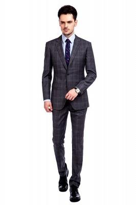 Traje a cuadros de primera calidad a medida en gris para hombres | Pocket solo traje de boda de pecho_1