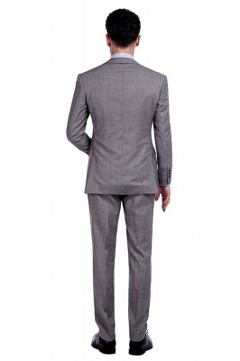 Grey Houndstooth 3 pockets Wool Suits for Men | Customize Peaked Lapel Single Breasted Chambelanes Tuxedos Tuxedos_3