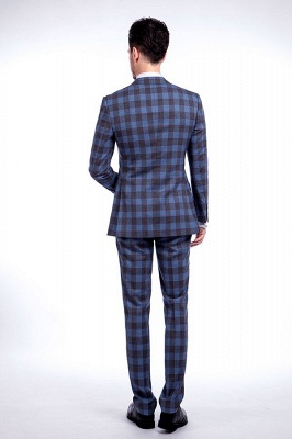 New Wool Slim Fit Purple Checks Suit | Popular Notched Lapel Single Breasted 2 Buttons Best Men Chambelanes_3