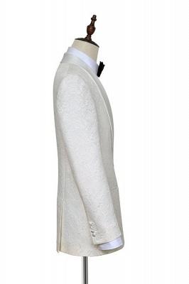 Traje de boda a medida de Jacquard blanco puro para el novio | Nuevo traje formal de un botón con botonadura simple para hombres guapos_5