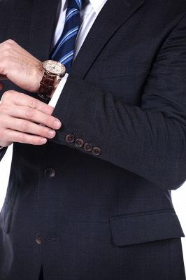 Lujo Premium gris a cuadros traje personalizado para hombres | Traje popular de la boda de los padrinos de boda de la solapa del pico_6