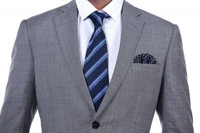 Gris elegante dise_o pico solapa trajes de los hombres | Traje de boda de dos bolsillos a medida_6