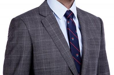 Traje a cuadros de primera calidad a medida en gris para hombres | Pocket solo traje de boda de pecho_5
