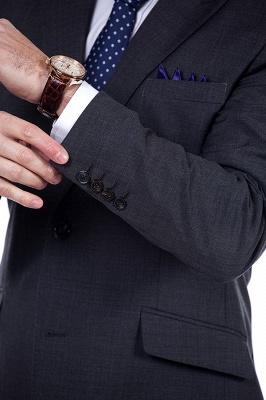 Esmoquin de novio sólido sólido de la boda | Traje a medida moderno de solapa en pico gris oscuro_6