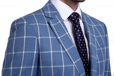 Blue Windowpane Single Breasted Slim Fit Classic Suit | Peaked Lapel Made to Measure Tuxedos for my Quince_5