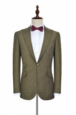 Hot Recommend Single Breasted One Button 3 Pocket Tailored Suit | Aureate Wool Small Grid Peak Lapel Quinceanera Tuxedos for Chambelanes_3