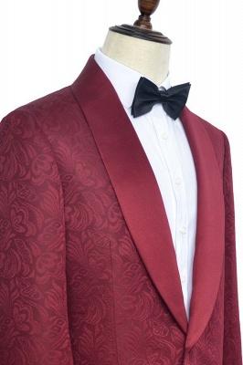 Con 3 bolsillos de cuello chal traje de boda personalizado | Un solo botonadura Un botón personalizado Jacquard de color rojo oscuro_2