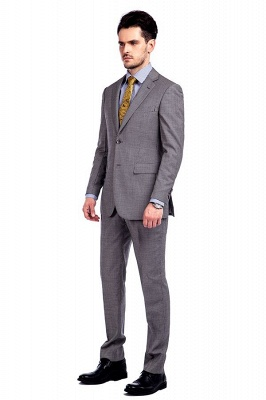Grey Houndstooth 3 pockets Wool Suits for Men | Customize Peaked Lapel Single Breasted Chambelanes Tuxedos Tuxedos_2