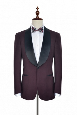 Maroon Single Breasted One Button Customized Tuxedos for my Quince  | Classic Two Pocket Shawl Collar Wool Quinceanera Suits_2