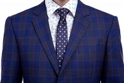 Traje de corte slim de dos botones en celosía azul premium | Traje de la boda del último dise_o de la solapa máxima de la alta calidad_4