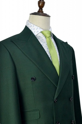 Traje a medida de doble botonadura verde para formal | Solapa enarbolada 3 bolsillos por encargo Causal Traje_6
