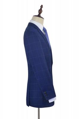 Solapa azul con muescas a cuadros traje personalizado para hombre | _ltimo dise_o de un solo pecho de dos bolsillos hechos a mano_5