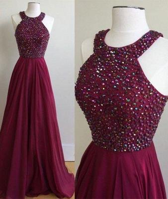 Sexy Crystal Jewel vestidos de baile | Vestidos de noche sin mangas escarpados baratos_2
