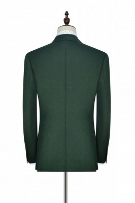 Traje a medida de doble botonadura verde para formal | Solapa enarbolada 3 bolsillos por encargo Causal Traje_4