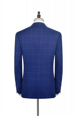 Solapa azul con muescas a cuadros traje personalizado para hombre | _ltimo dise_o de un solo pecho de dos bolsillos hechos a mano_4