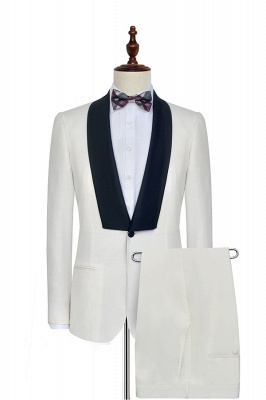 White Shawl Collar Single Breasted Chambelanes Tuxedos | New Arrival 2 Pocket Custom Suit For Men_1