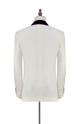 White Red Velvet Shawl Collar One Button Quinceanera Tuxedos | Latest Design Single Breasted Slim Fit Suit_4