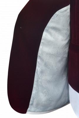 Traje de boda de un botón de terciopelo rojo chal de un botón | _ltimo dise_o de un solo traje ajustado en el pecho_8