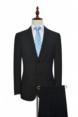 Black Plaid Two Standard Pocket Custom Suit For Formal | Fashion Peaked Lapel Single Breasted Quinceanera Tuxedos