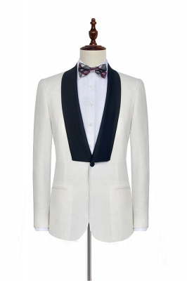 White Shawl Collar Single Breasted Chambelanes Tuxedos | New Arrival 2 Pocket Custom Suit For Men_3