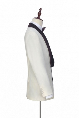 Traje de boda de un botón de terciopelo rojo chal de un botón | _ltimo dise_o de un solo traje ajustado en el pecho_5