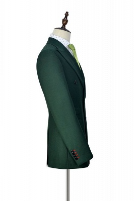 Green Double Breasted Tailored Suit For Formal | Peaked Lapel 3 Pockets Custom Made Causal Suit_5