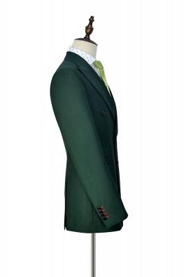 Traje a medida de doble botonadura verde para formal | Solapa enarbolada 3 bolsillos por encargo Causal Traje_5