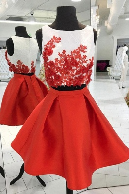 Simple Sparkly Beads Applique Jewel Dama Dresses | Two Piece Sleeveless Short Party Dresses_1