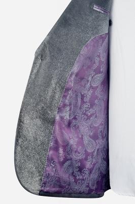 Hot Recommend Grey Velvet Custom Quinceanera Tuxedos | Peak lapel Single Breasted 2 Pocket Chambelanes Tuxedos_6