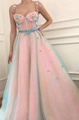 Elegant Flower Bowknot Spaghetti-Strap  Banquet Dresses | Ribbons Sheer Sleeveless Formal Dresses with Beads_1