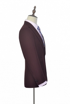 Dark Red Small grid Peak Lapel Custom Suit For Men | New Single Breasted One Button Chambelanes  Tuxedos for my Quince_4