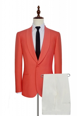 New Arrival Single Breasted One Button 2 Pocket Tailored Suit | Watermelon Red Shawl Collar Custom Suit Quinceanera Tuxedos for Chambelanes_1